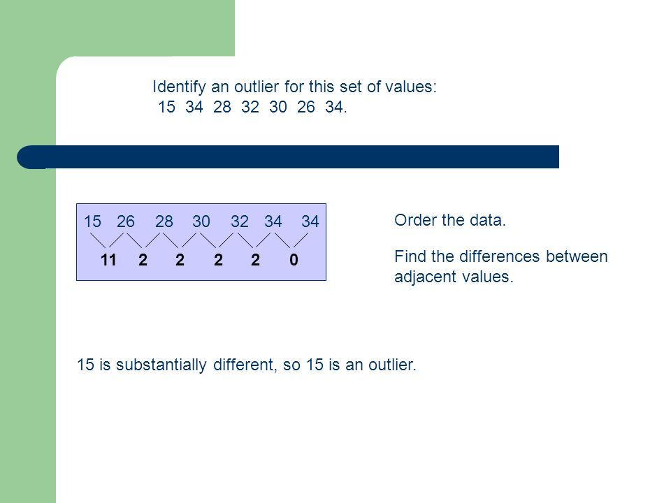 Identify an outlier for this set of values: 15 34 28 32 30 26 34.