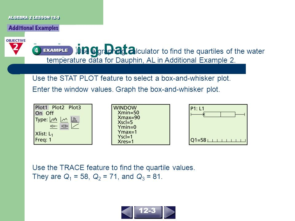 ALGEBRA 2 LESSON 12-3 Analyzing Data.