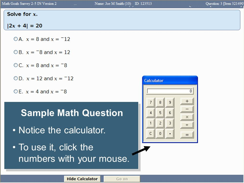 To use it, click the numbers with your mouse.