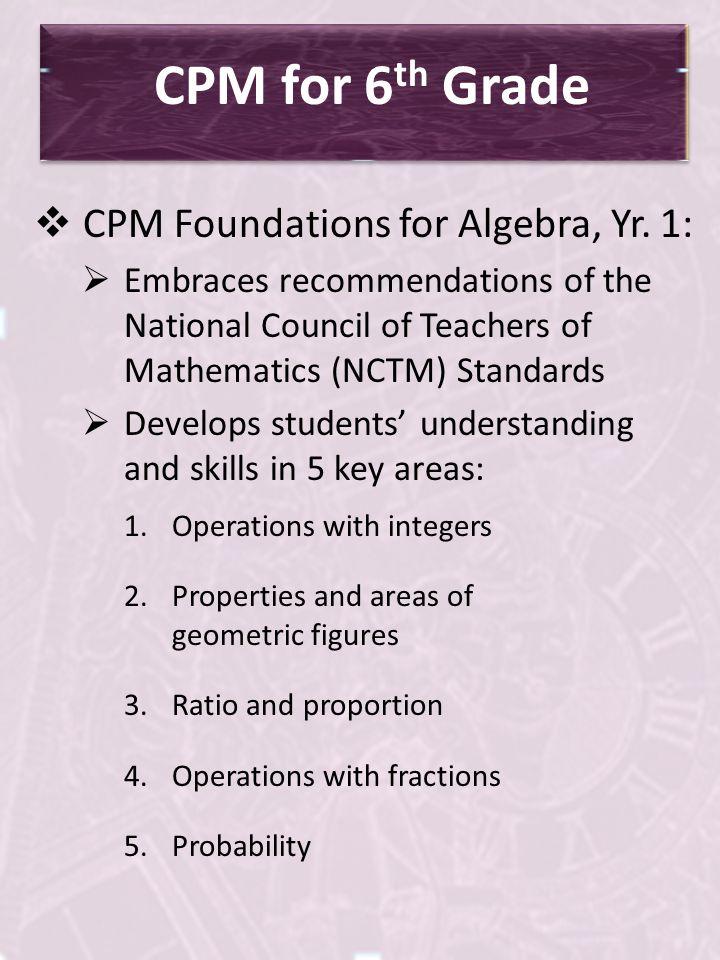 CPM for 6th Grade CPM Foundations for Algebra, Yr. 1: