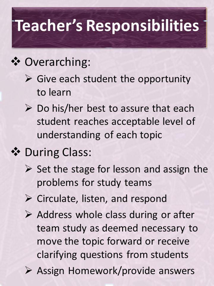 Teacher's Responsibilities