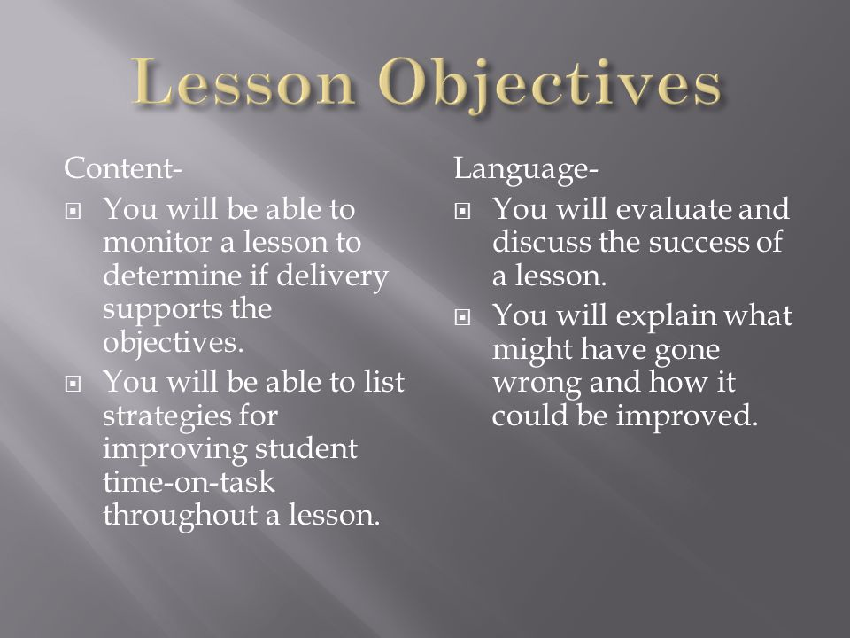 Lesson Objectives Content-