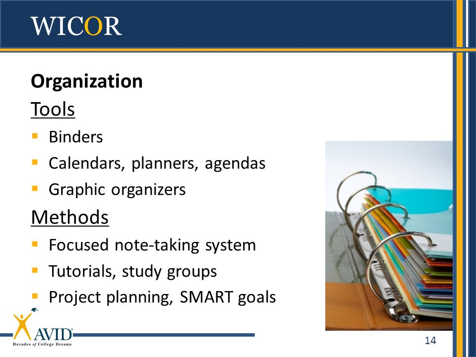 WICOR Organization Tools Methods Binders Calendars, planners, agendas