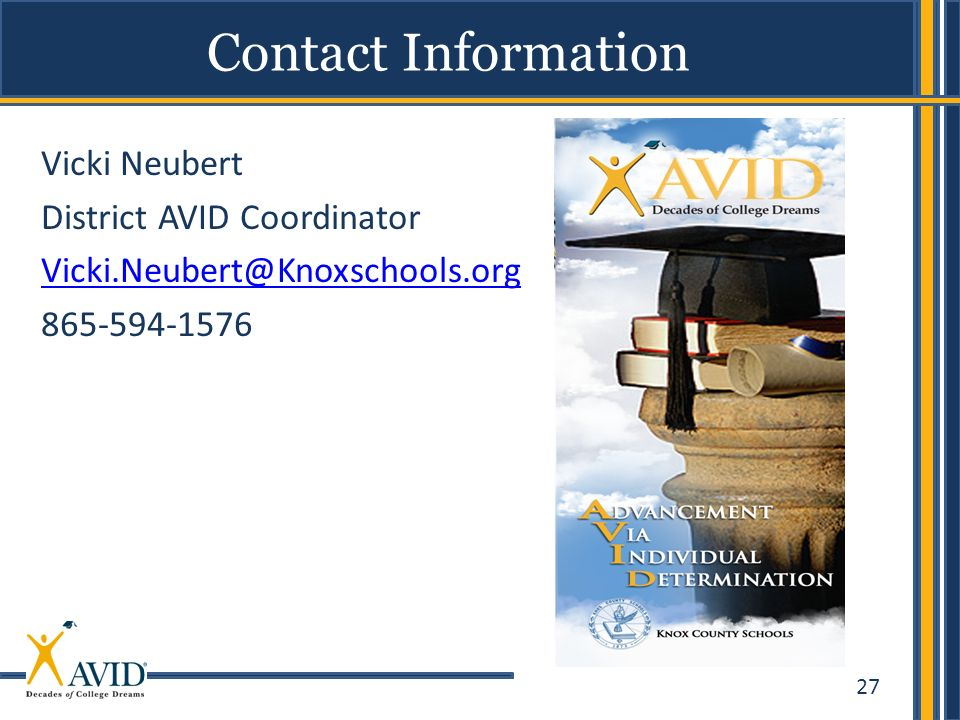 Contact Information Vicki Neubert. District AVID Coordinator.