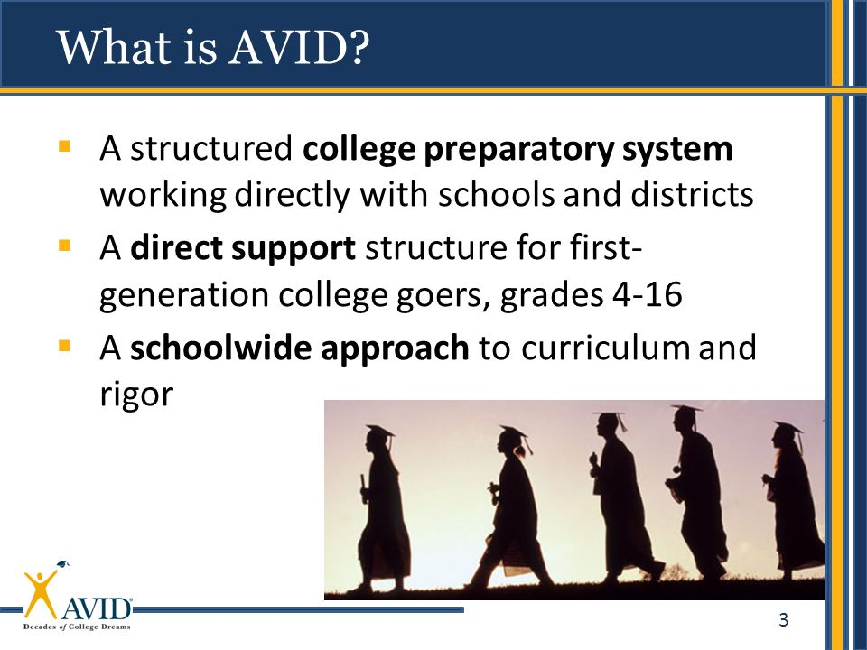 What is AVID A structured college preparatory system working directly with schools and districts.