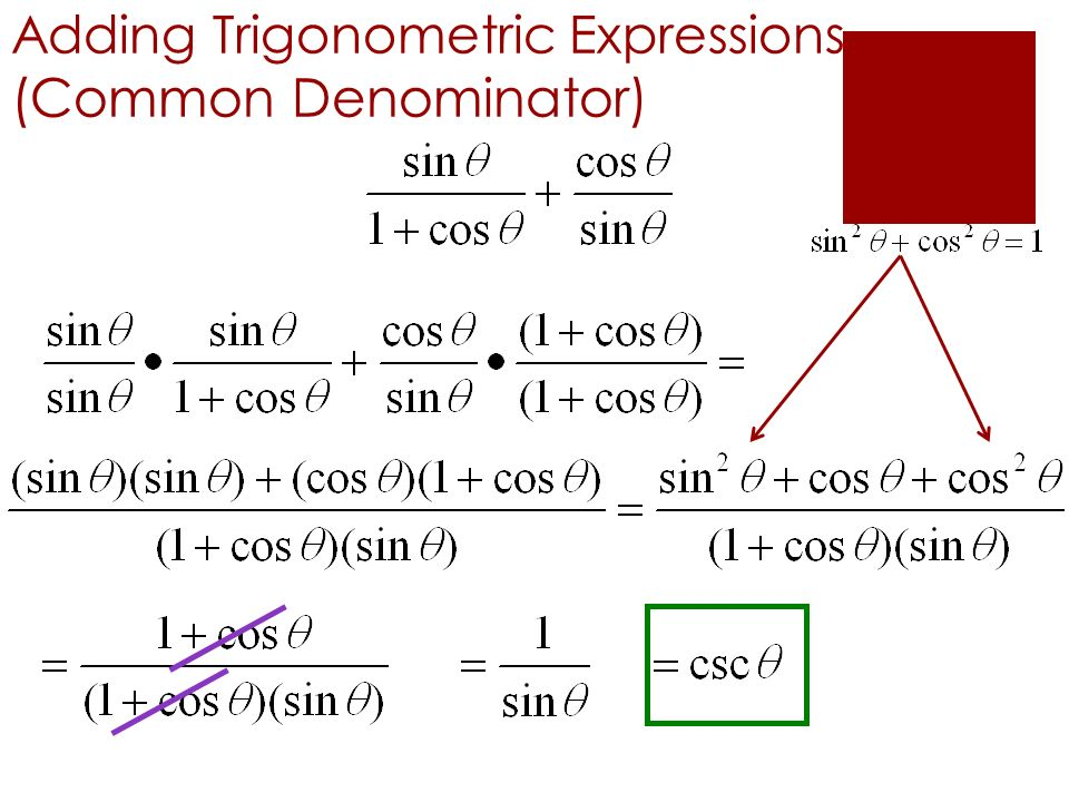 Adding Trigonometric Expressions (Common Denominator)