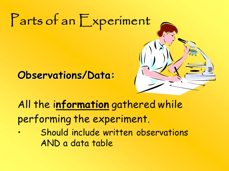 Parts of an Experiment Observations/Data: