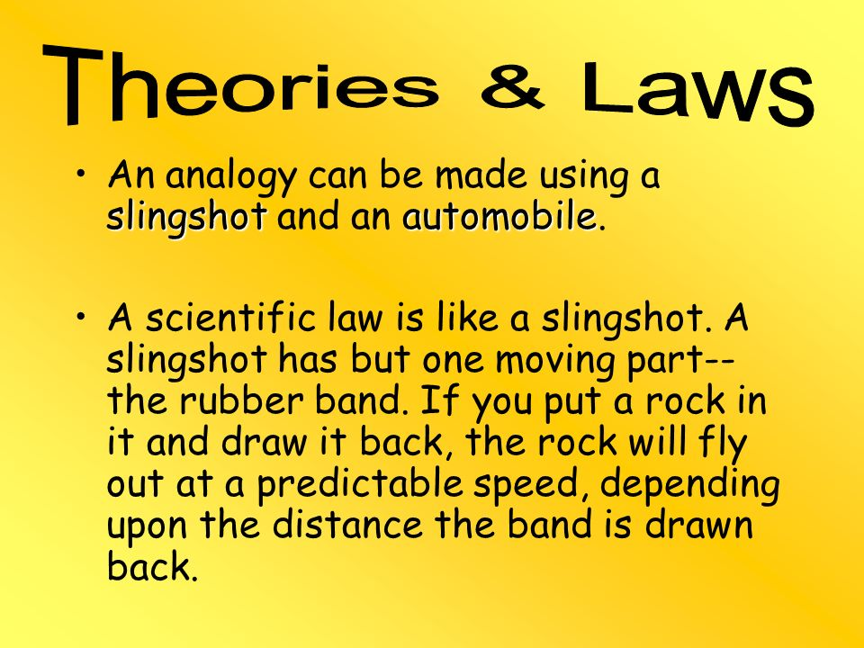 An analogy can be made using a slingshot and an automobile.