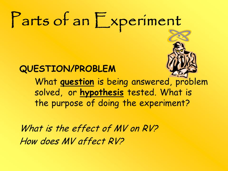 Parts of an Experiment QUESTION/PROBLEM