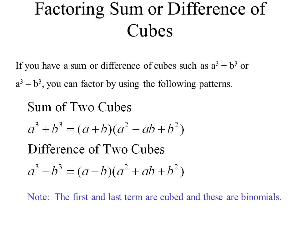 Factoring Sum or Difference of Cubes