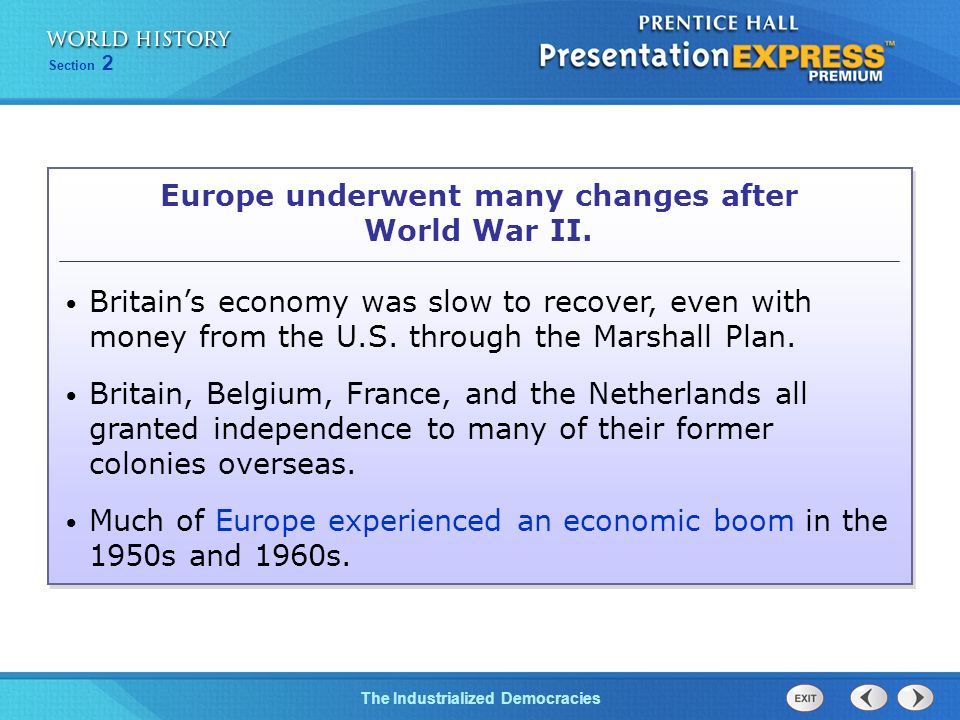 Europe underwent many changes after World War II.
