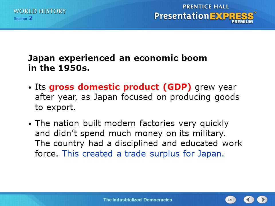 Japan experienced an economic boom in the 1950s.