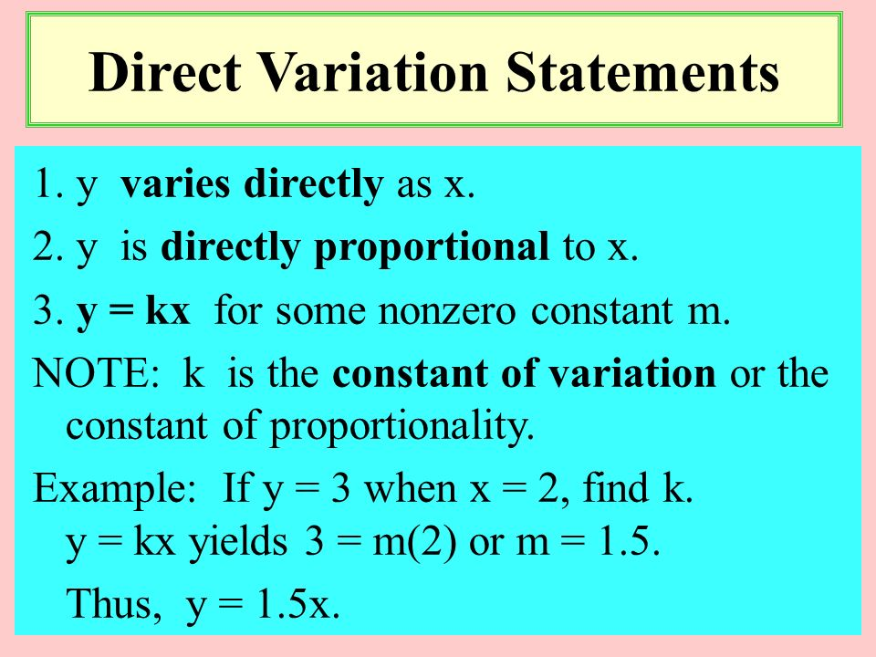 Direct Variation Statements