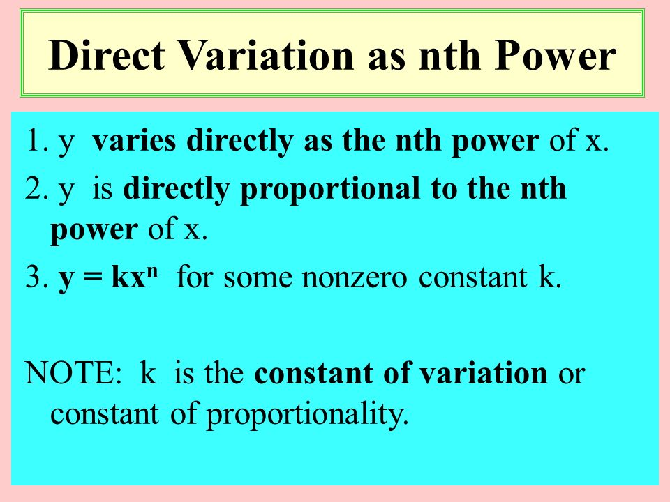 Direct Variation as nth Power