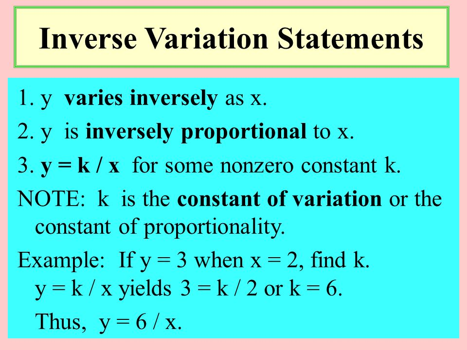 Inverse Variation Statements