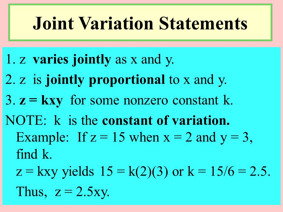 Joint Variation Statements