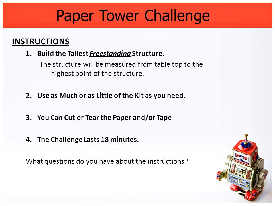 Paper Tower Challenge INSTRUCTIONS