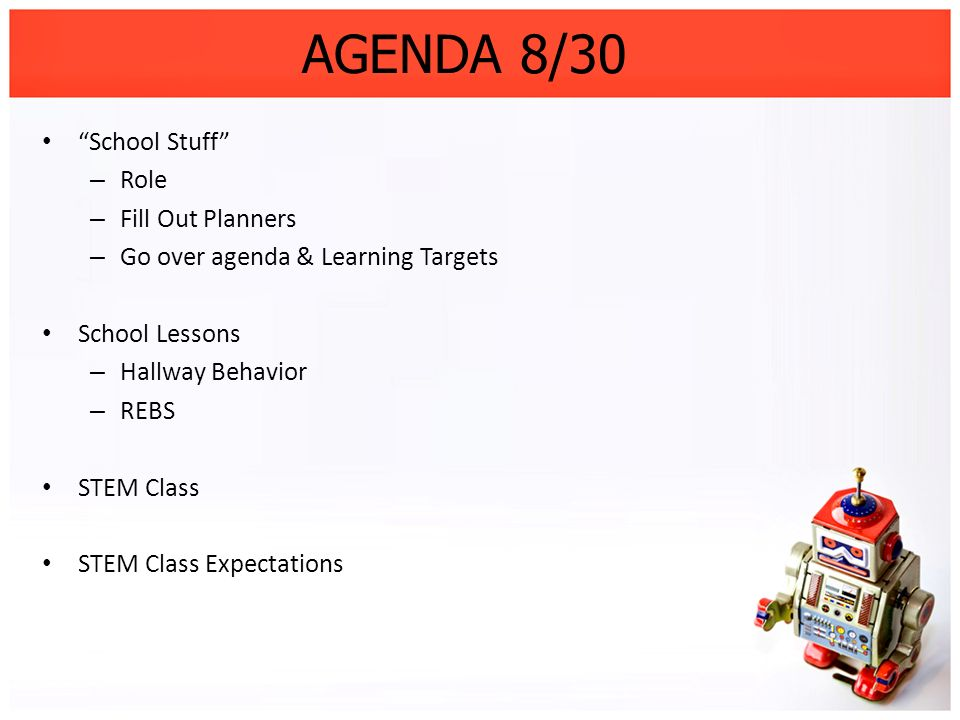 AGENDA 8/30 School Stuff Role Fill Out Planners