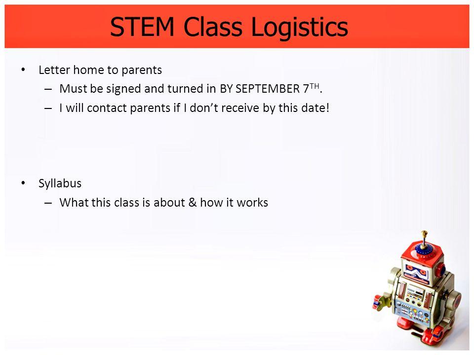 STEM Class Logistics Letter home to parents