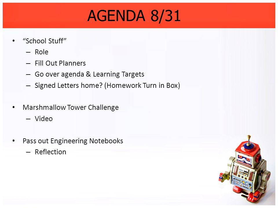 AGENDA 8/31 School Stuff Role Fill Out Planners