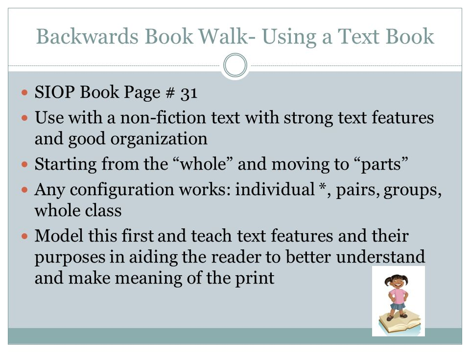 Backwards Book Walk- Using a Text Book