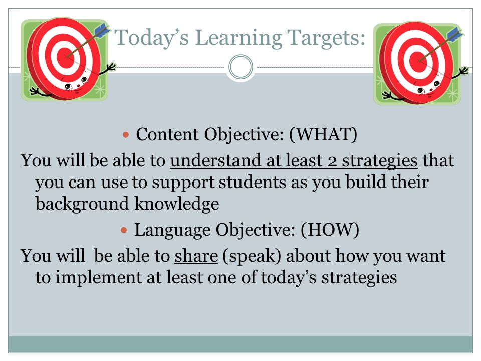Today's Learning Targets: