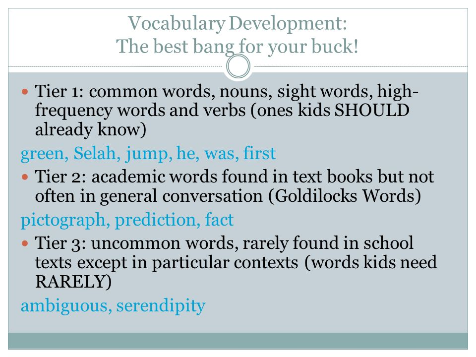 Vocabulary Development: The best bang for your buck!