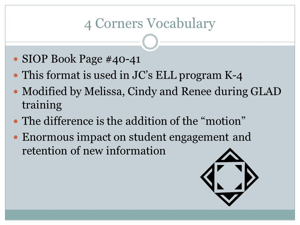 4 Corners Vocabulary SIOP Book Page #40-41