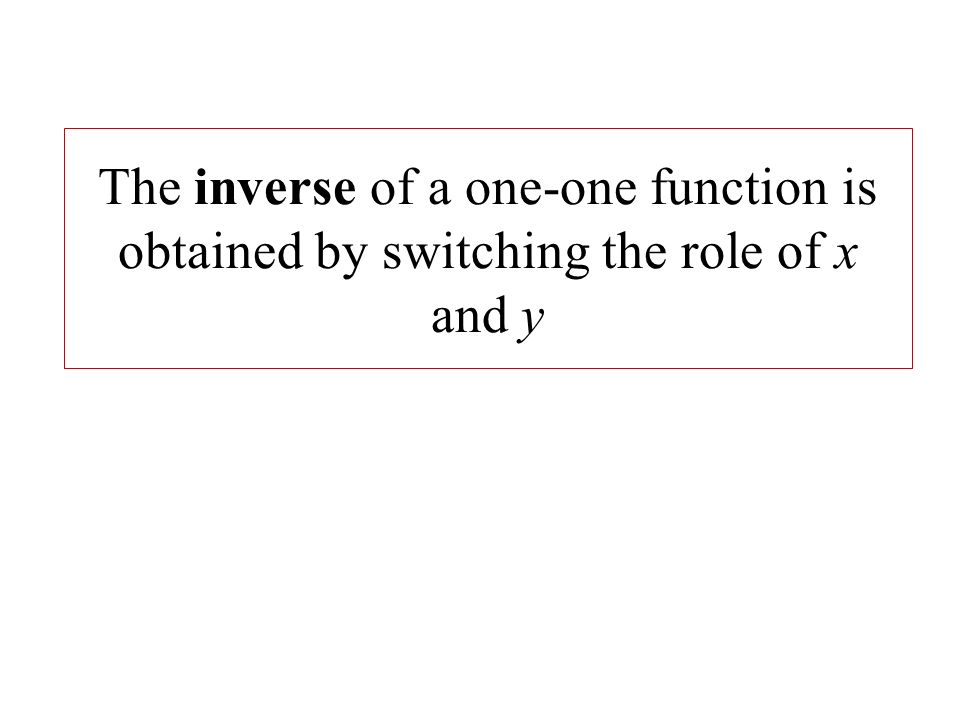 The inverse of a one-one function is obtained by switching the role of x and y