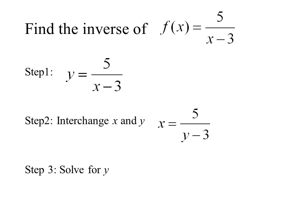 Find the inverse of Step1: Step2: Interchange x and y