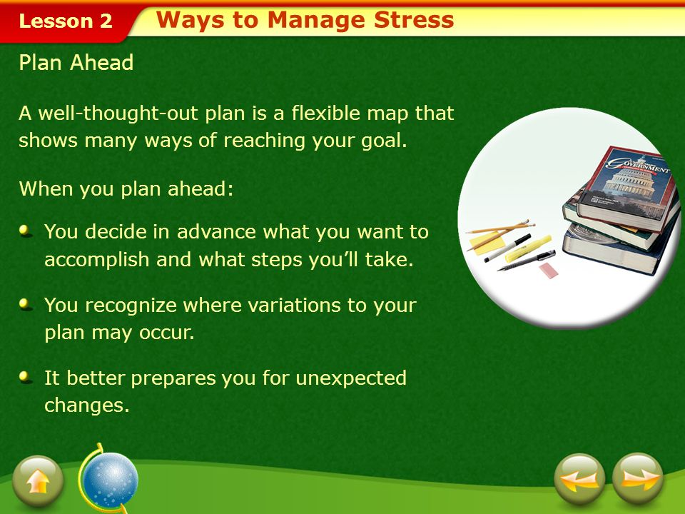 Ways to Manage Stress Plan Ahead