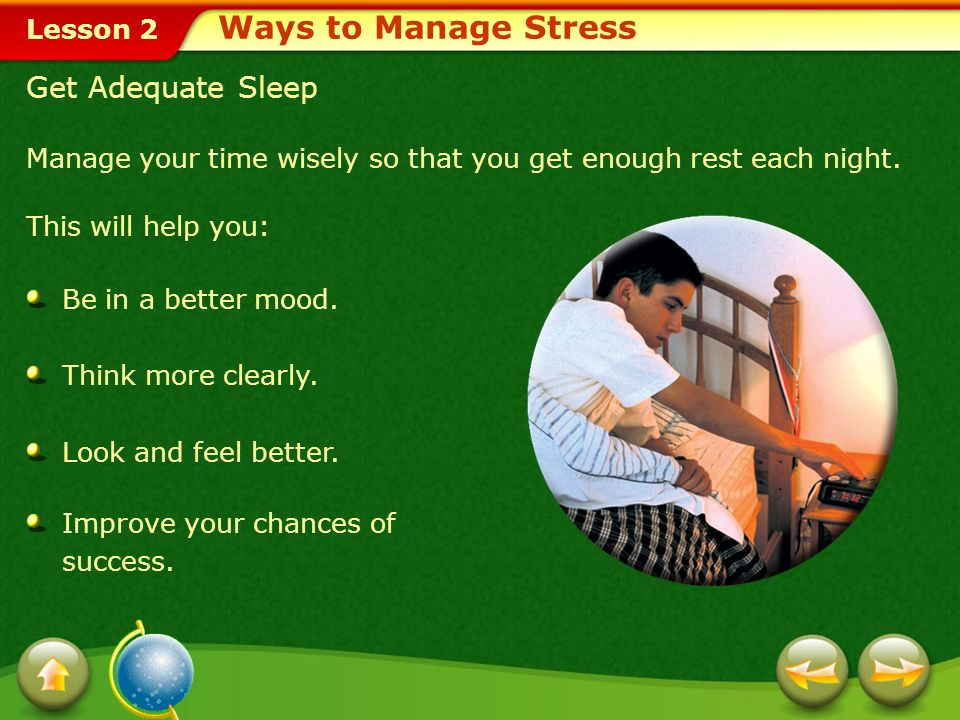 Ways to Manage Stress Get Adequate Sleep