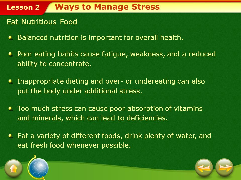 Ways to Manage Stress Eat Nutritious Food