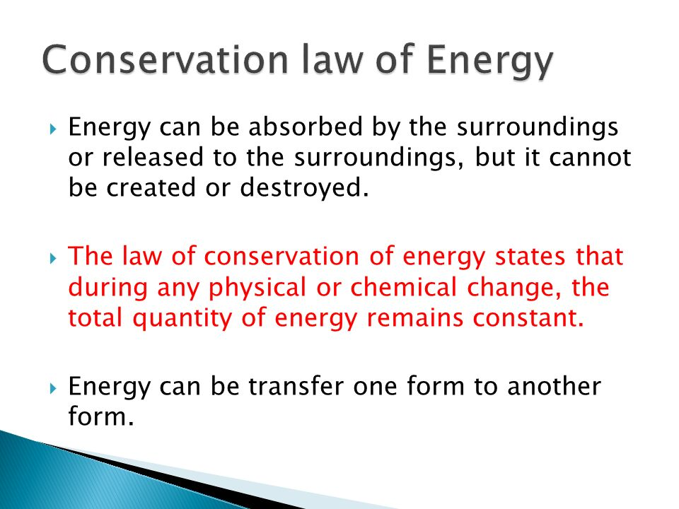 Conservation law of Energy