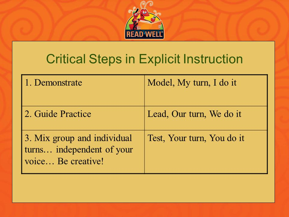 Critical Steps in Explicit Instruction