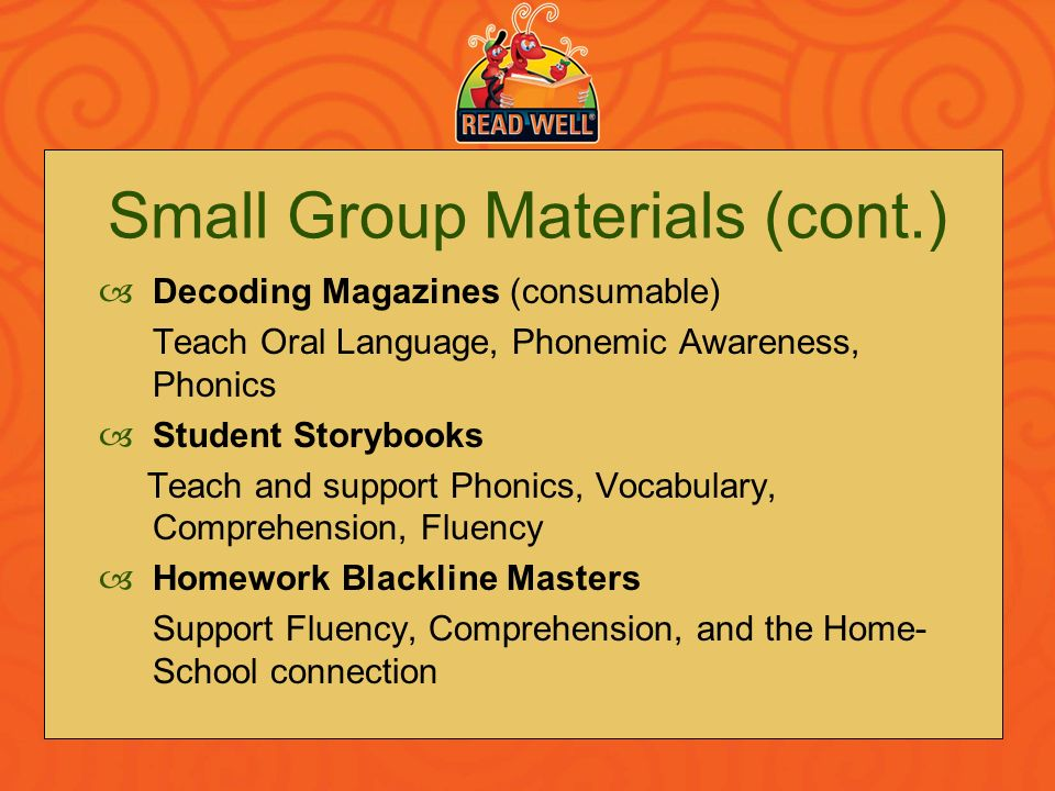 Small Group Materials (cont.)