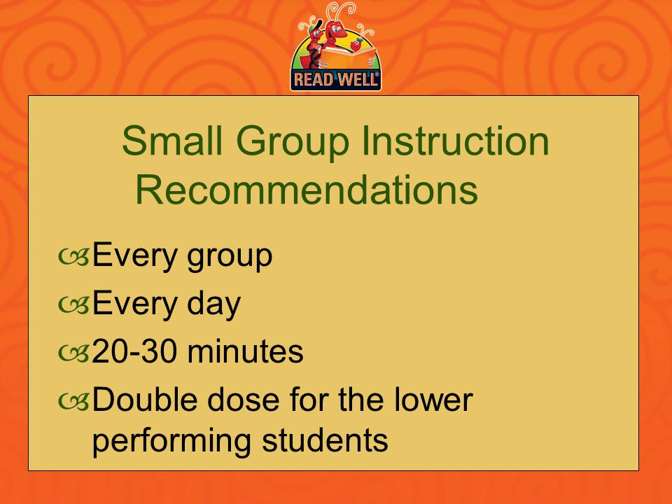 Small Group Instruction Recommendations