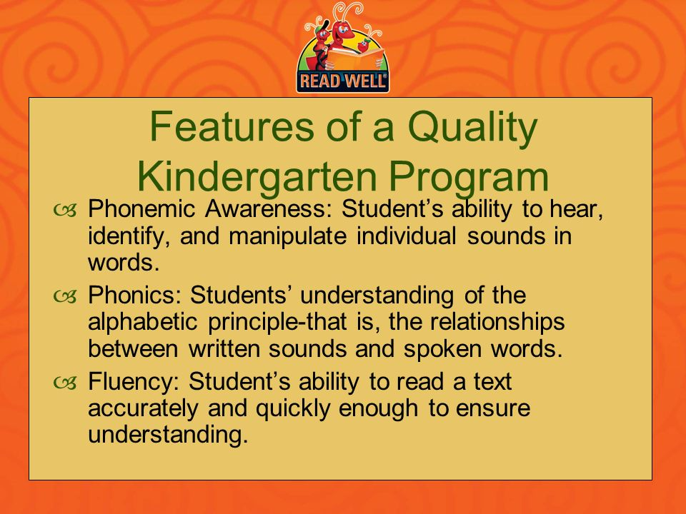 Features of a Quality Kindergarten Program
