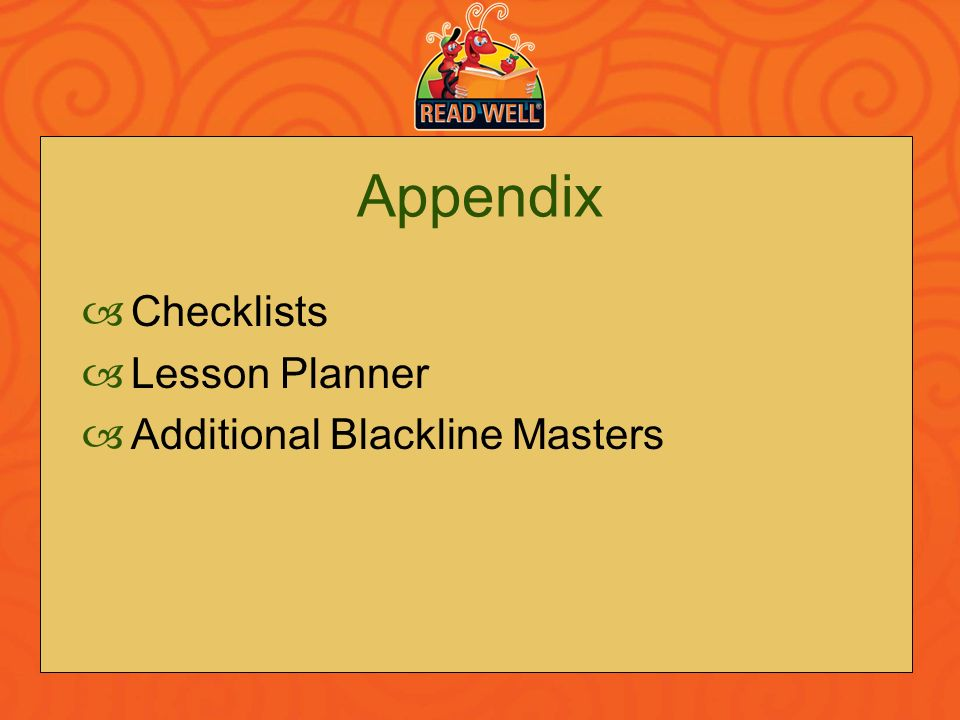 Appendix Checklists Lesson Planner Additional Blackline Masters