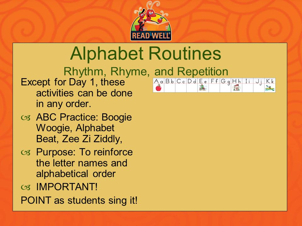 Alphabet Routines Rhythm, Rhyme, and Repetition