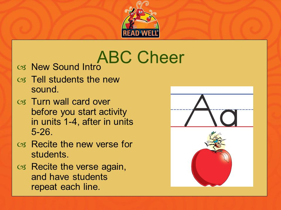 ABC Cheer New Sound Intro Tell students the new sound.