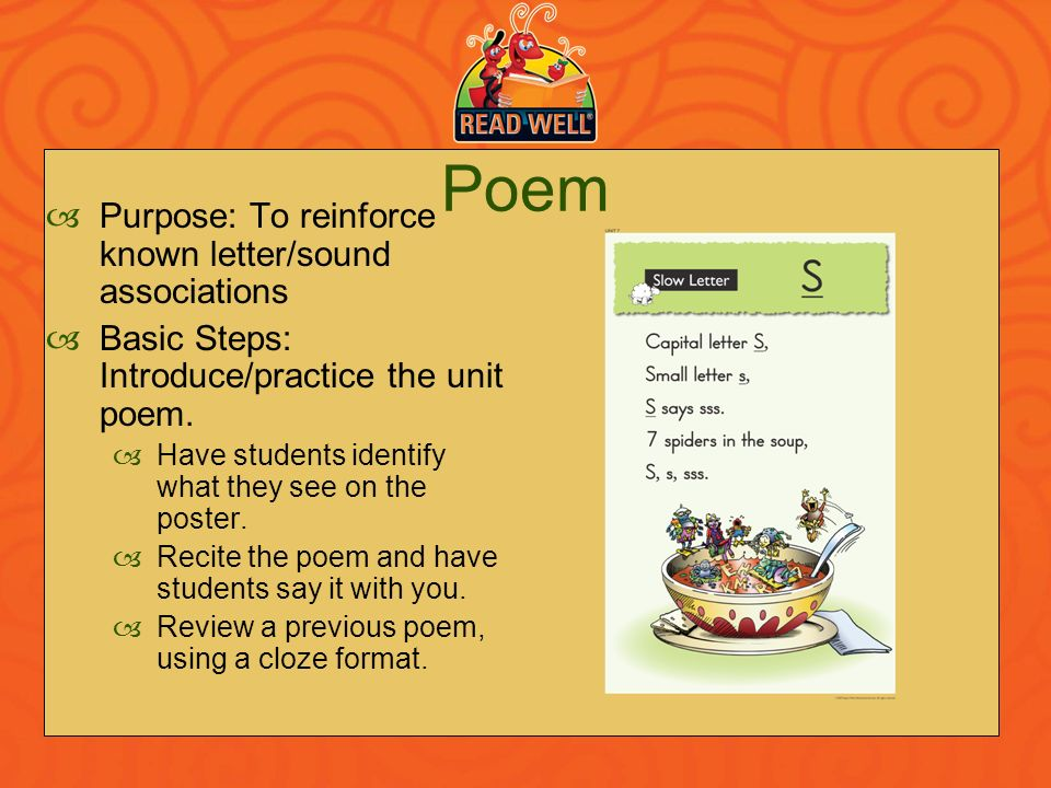 Poem Purpose: To reinforce known letter/sound associations