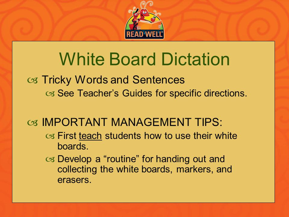White Board Dictation Tricky Words and Sentences