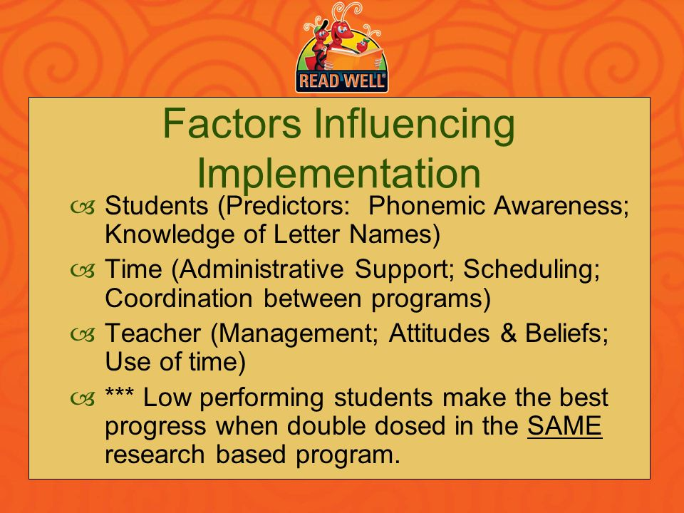Factors Influencing Implementation