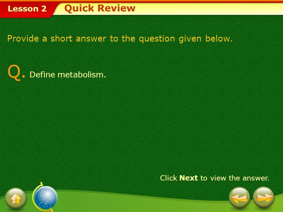 Q. Define metabolism. Quick Review