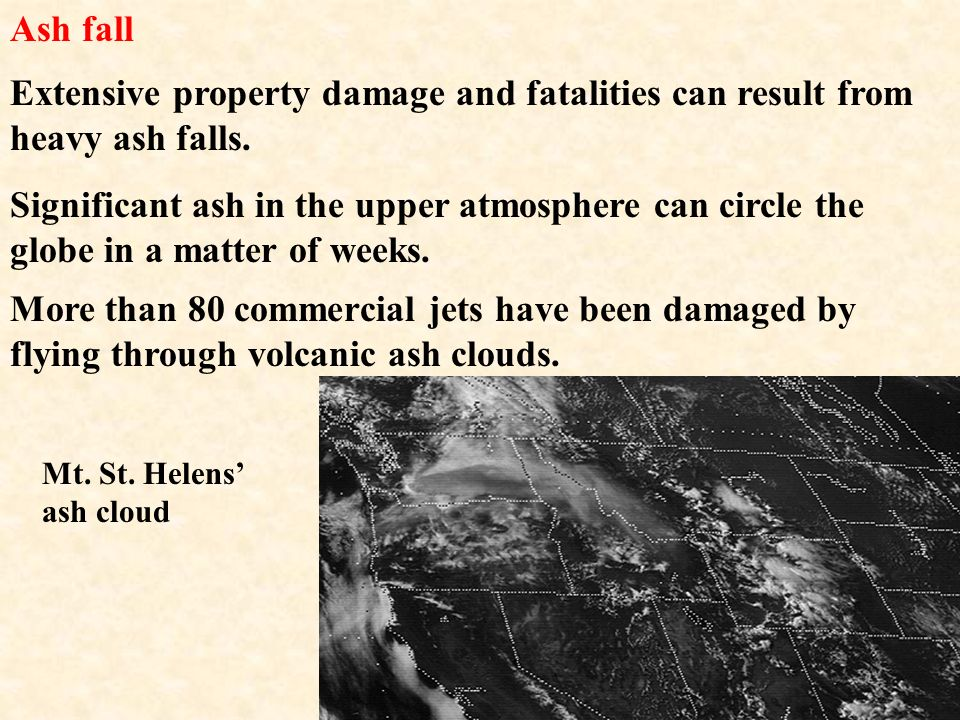 Ash fall Extensive property damage and fatalities can result from heavy ash falls.