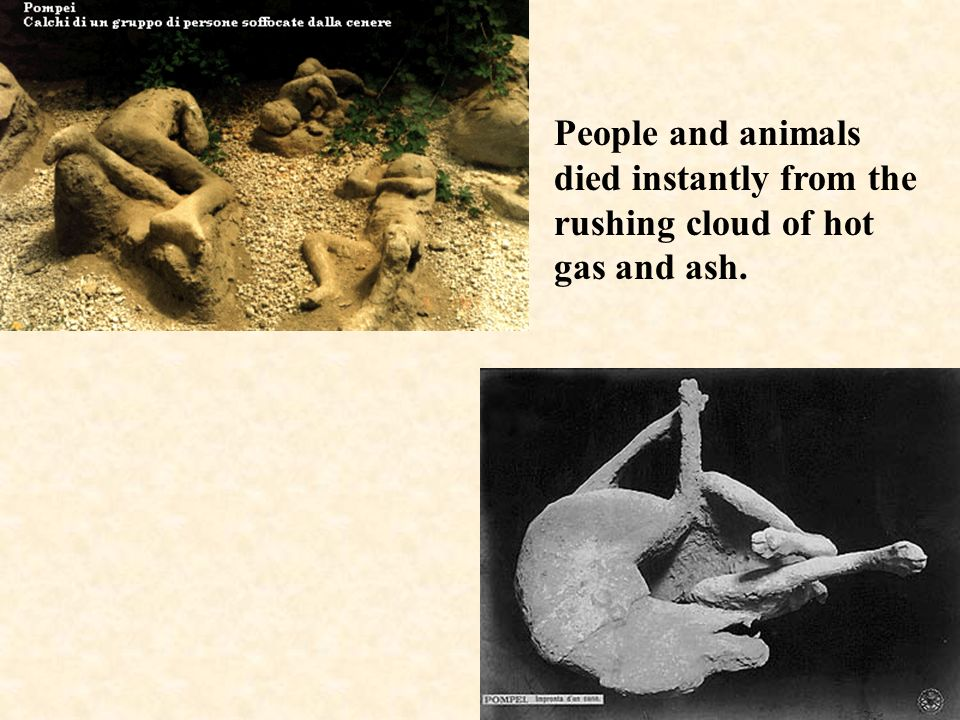 People and animals died instantly from the rushing cloud of hot gas and ash.