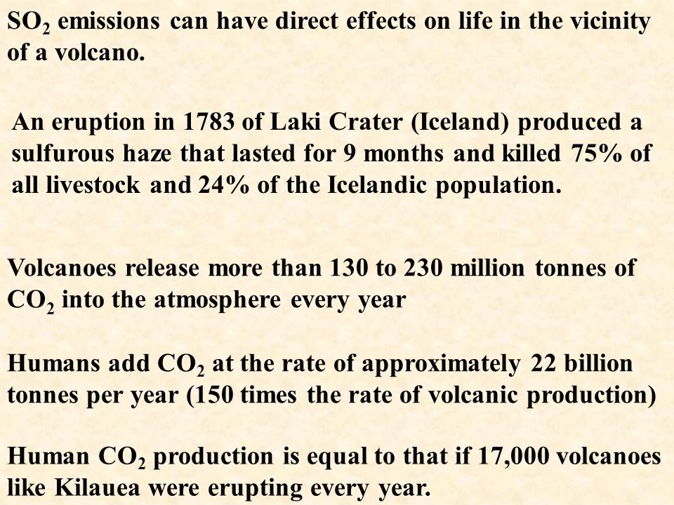 SO2 emissions can have direct effects on life in the vicinity of a volcano.