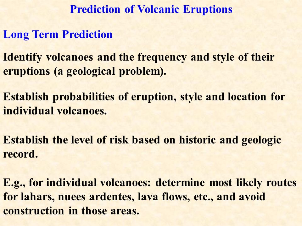 Prediction of Volcanic Eruptions