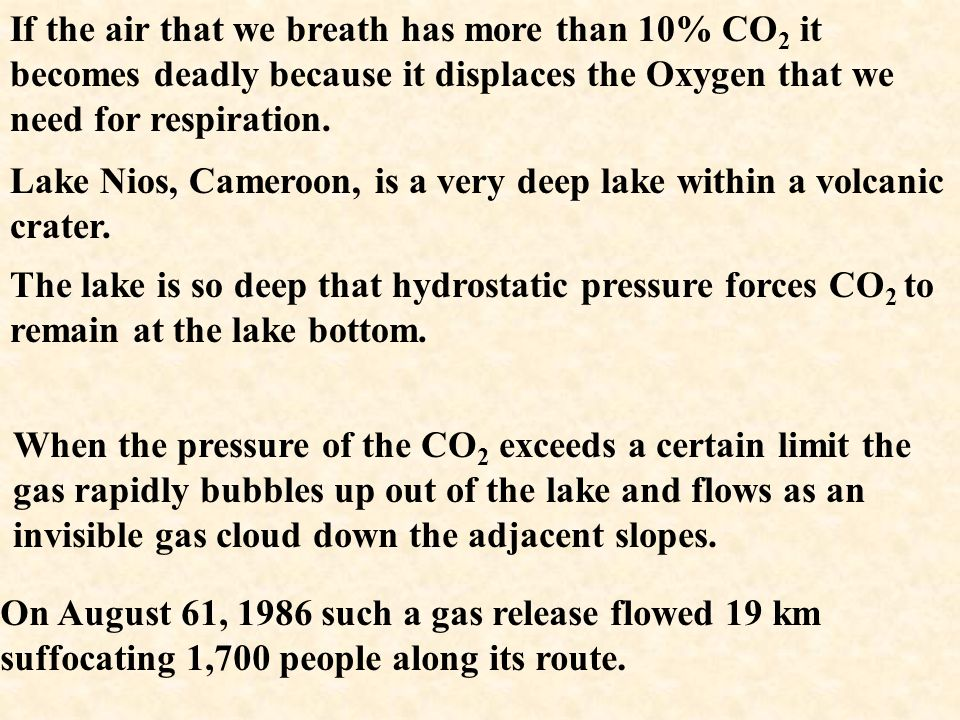 If the air that we breath has more than 10% CO2 it becomes deadly because it displaces the Oxygen that we need for respiration.